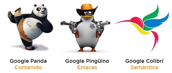 Imagen de los Algoritmos de Google Panda, Google Pinguino y Google Colibrí