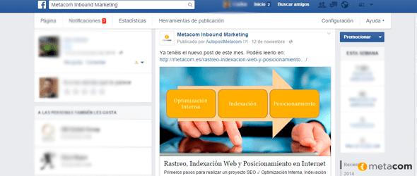 Facebook de Metacom compartiendo un Artículo
