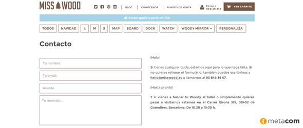 pagina de contacto de Misswood