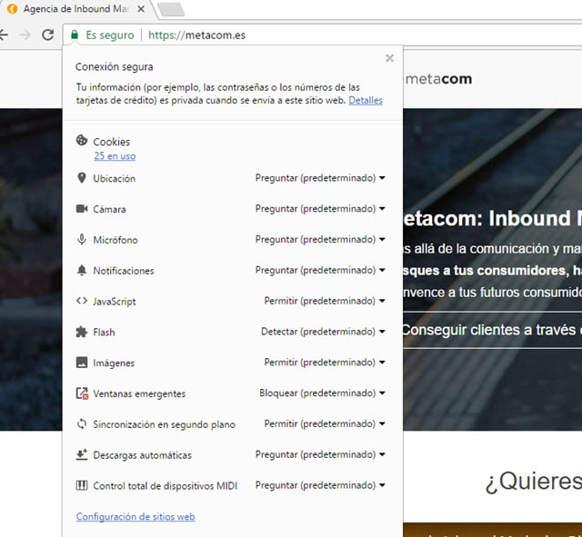 Certificado SSL Metacom en Google Chrome