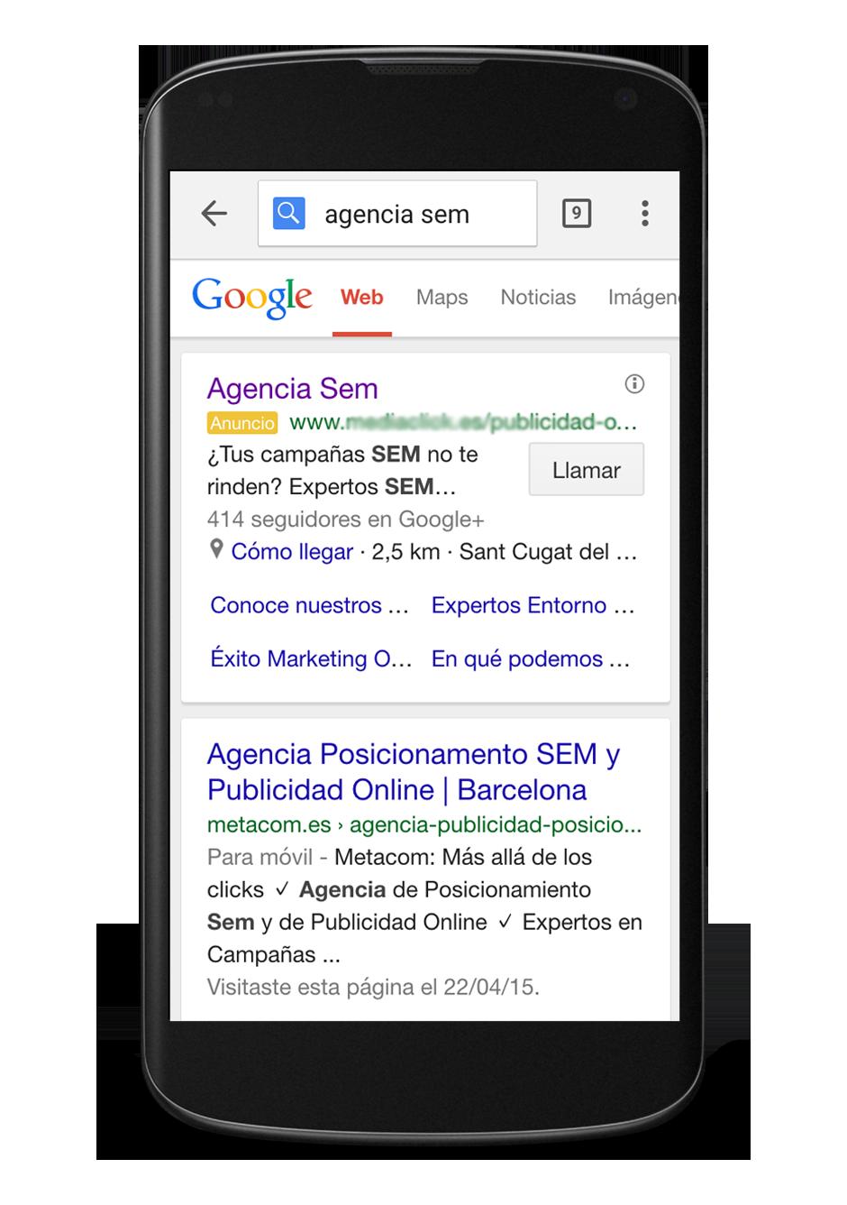 Ejemplo posicionamiento SEM de Metacom