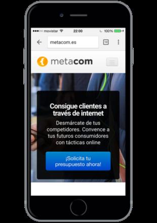 Teléfono móvil con ejemplo de responsive design en Metacom