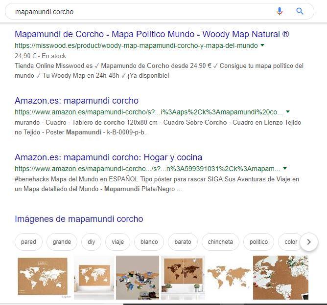 Ejemplo de éxito de SEO en la búsqueda de productos MissWood en Google