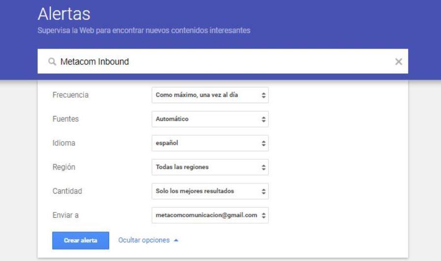 Configurar alertas con Google Alerts