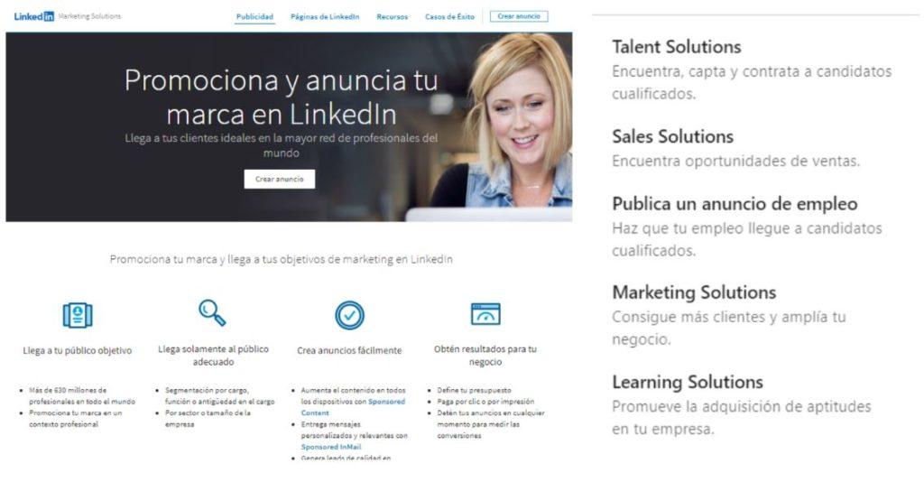 Opciones que ofrece LinkedIn Ads