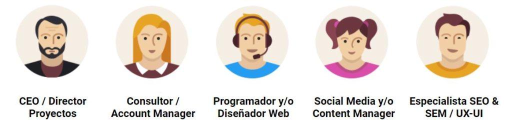 Profesionales de un proyecto web